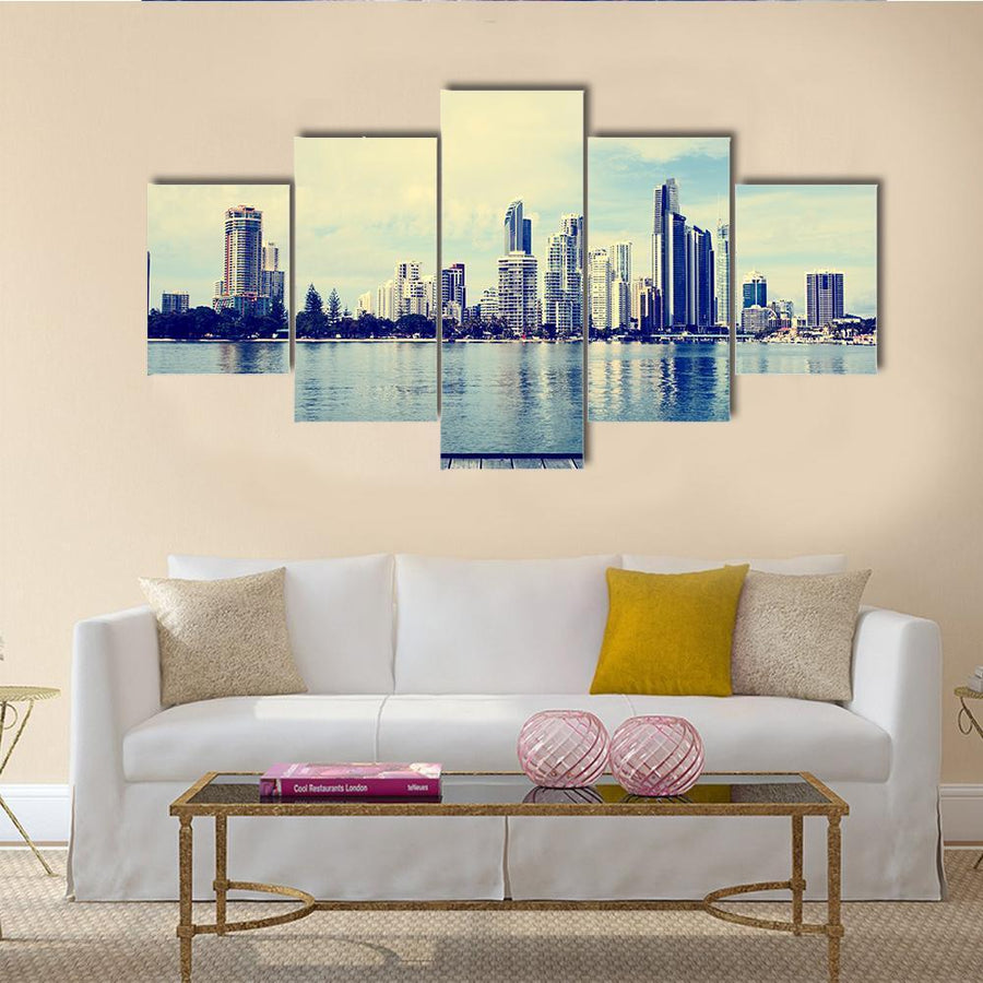 Modern Buildings Of Gold Coast Multi Panel Canvas Wall Art 5 Pieces(A) / Medium / Canvas Tiaracle