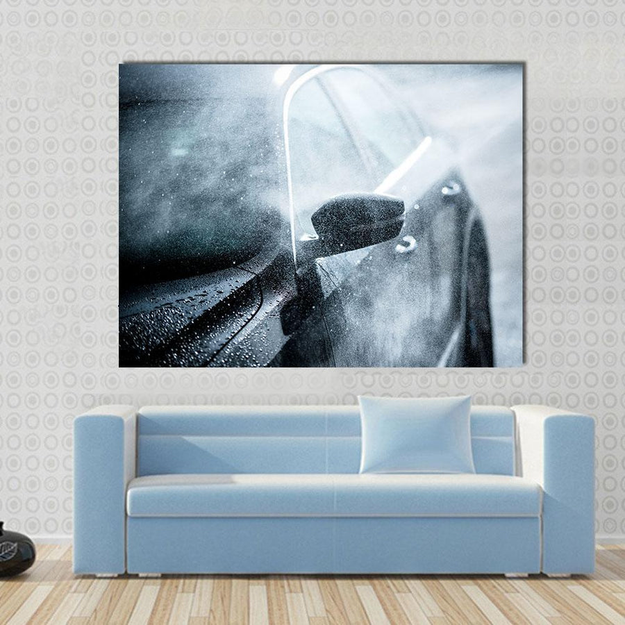 Modern Compact Car Covered By Water Canvas Panel Painting Tiaracle