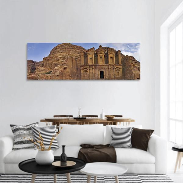 Monastery Ad-Deir In Petra Jordan Panoramic Canvas Wall Art 3 Piece / Small Tiaracle