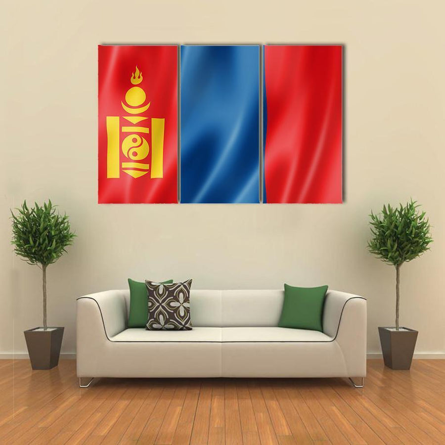 Mongolia Flag Multi Panel Canvas Wall Art 4 Pieces / Medium / Canvas Tiaracle