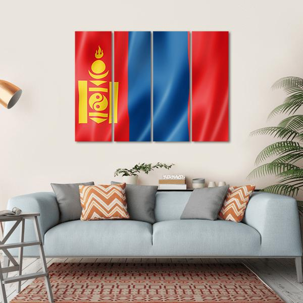 Mongolia Flag Multi Panel Canvas Wall Art-1 Piece-Small-Gallery Wrap-Tiaracle