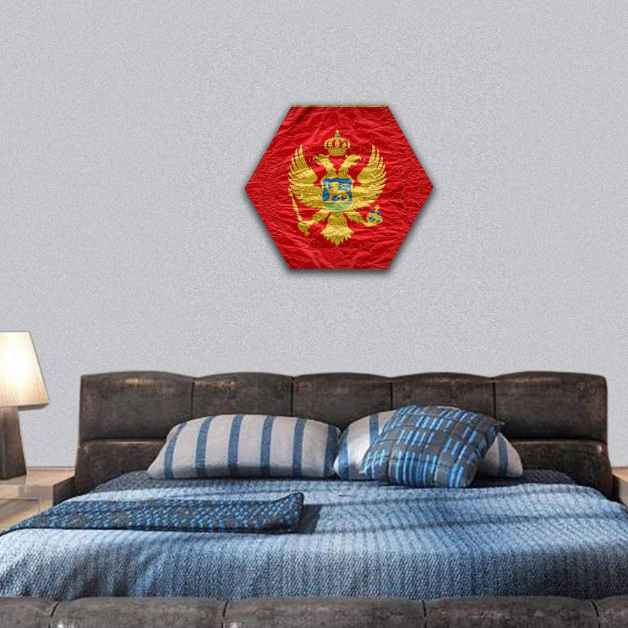 Montenegro Flag Hexagonal Canvas Wall Art 7 Hexa / Small / Gallery Wrap Tiaracle