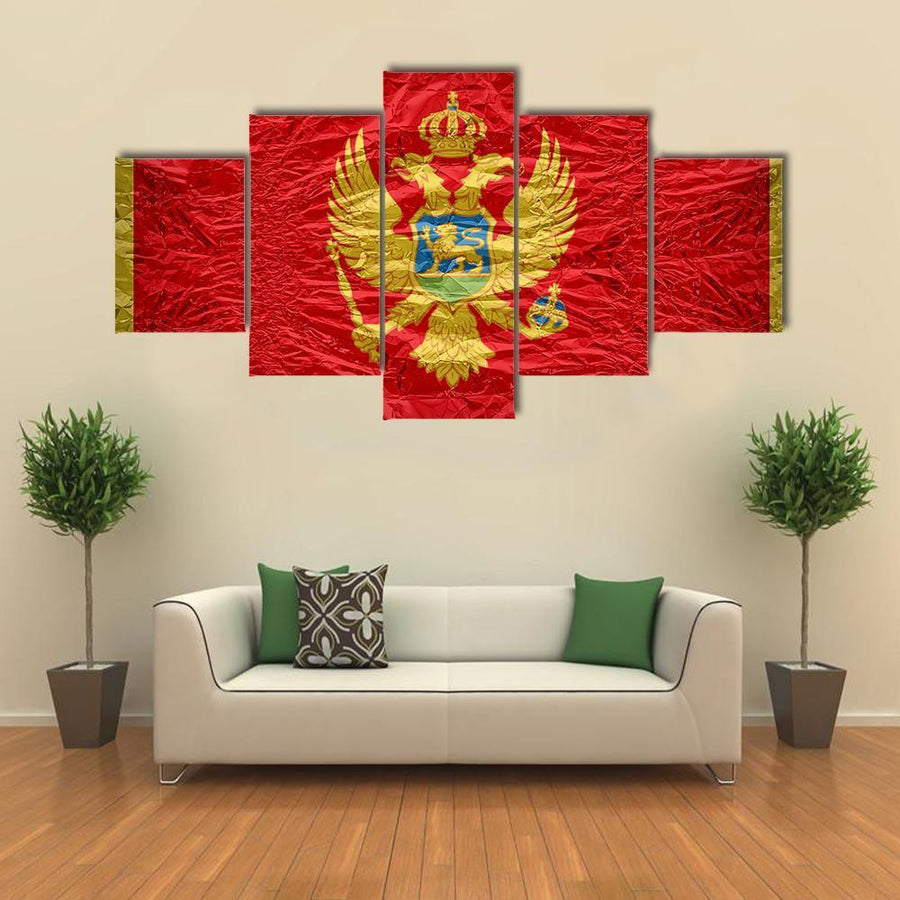 Montenegro Flag Multi Panel Canvas Wall Art 5 Pieces(A) / Medium / Canvas Tiaracle