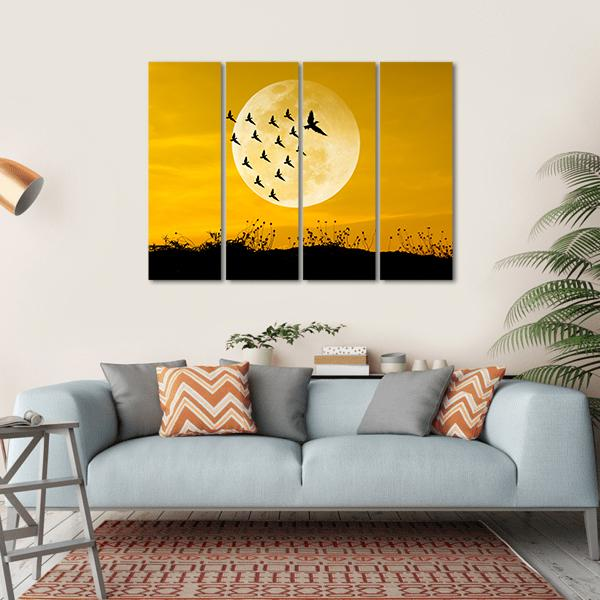 Moon & Birds Silhouettes-1 Piece-Small-Gallery Wrap-Tiaracle