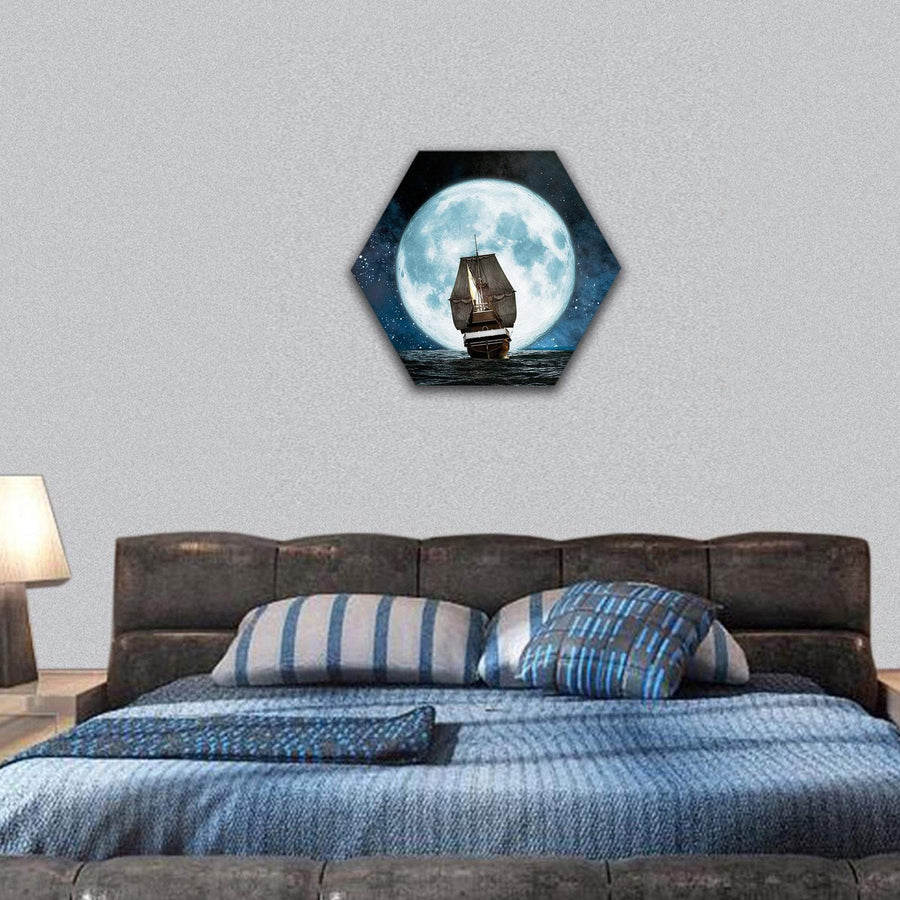 Moon, Boat And Reflection In The Water Hexagonal Canvas Wall Art 7 Hexa / Small / Gallery Wrap Tiaracle