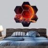 Moon Eclipse Planet Red Blood With Clouds Hexagonal Canvas Wall Art 7 Hexa / Small / Gallery Wrap Tiaracle