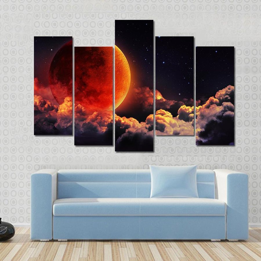 Moon Eclipse Planet Red Blood With Clouds Canvas Panel Painting Tiaracle
