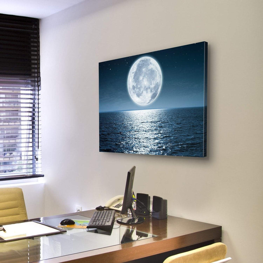 Bright Moon Light Reflection On Ocean Canvas Panel Painting Tiaracle