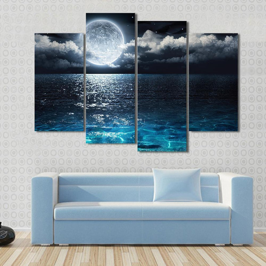 Panorama With Full Moon On Sea To Night Canvas Panel Painting Tiaracle