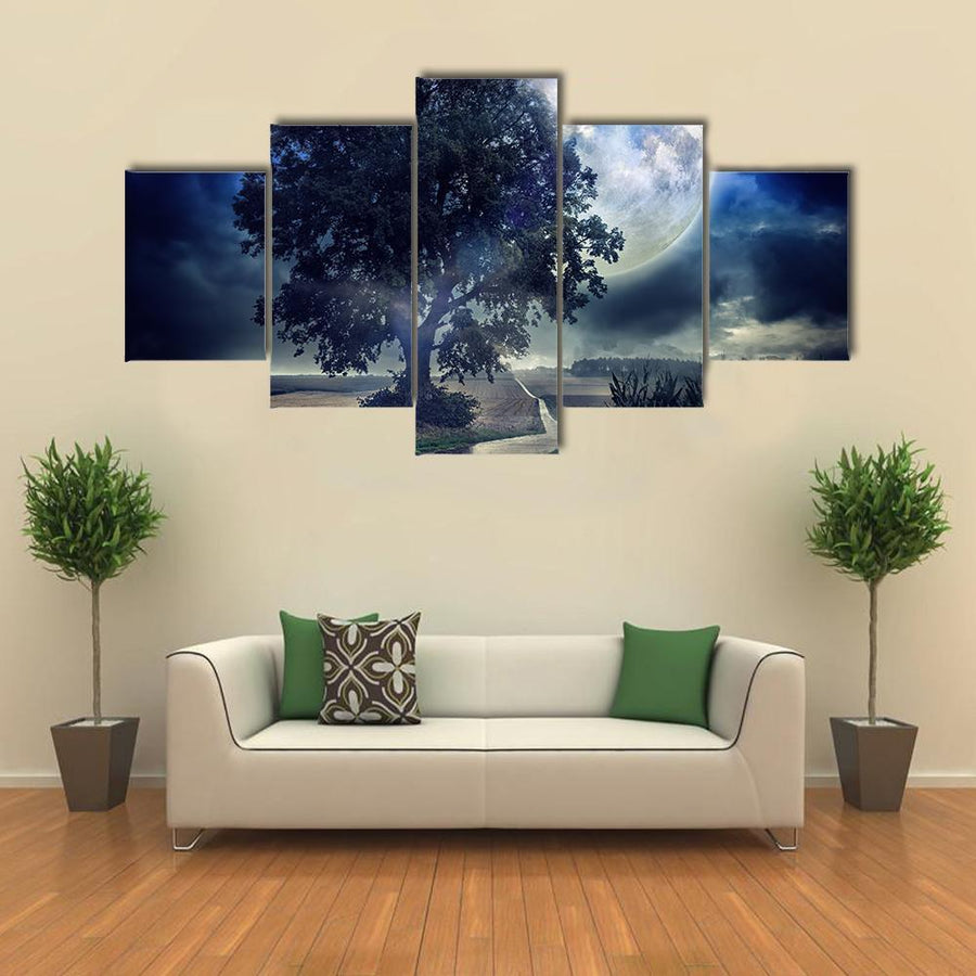 Full Moon Over Corn Field At Summer Night Multi Panel Canvas Wall Art 3 Pieces / Medium / Canvas Tiaracle