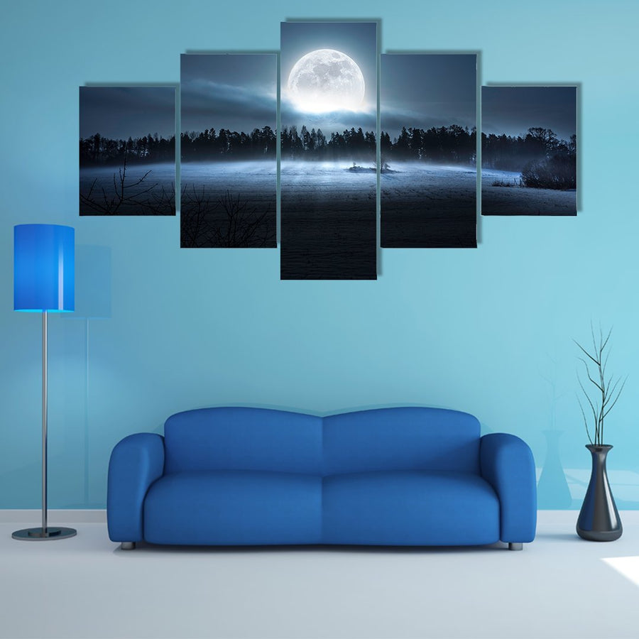 Moon Rising Over The Forest And Meadow Multi Panel Canvas Wall Art 5 Pop / Medium / Gallery Wrap Tiaracle