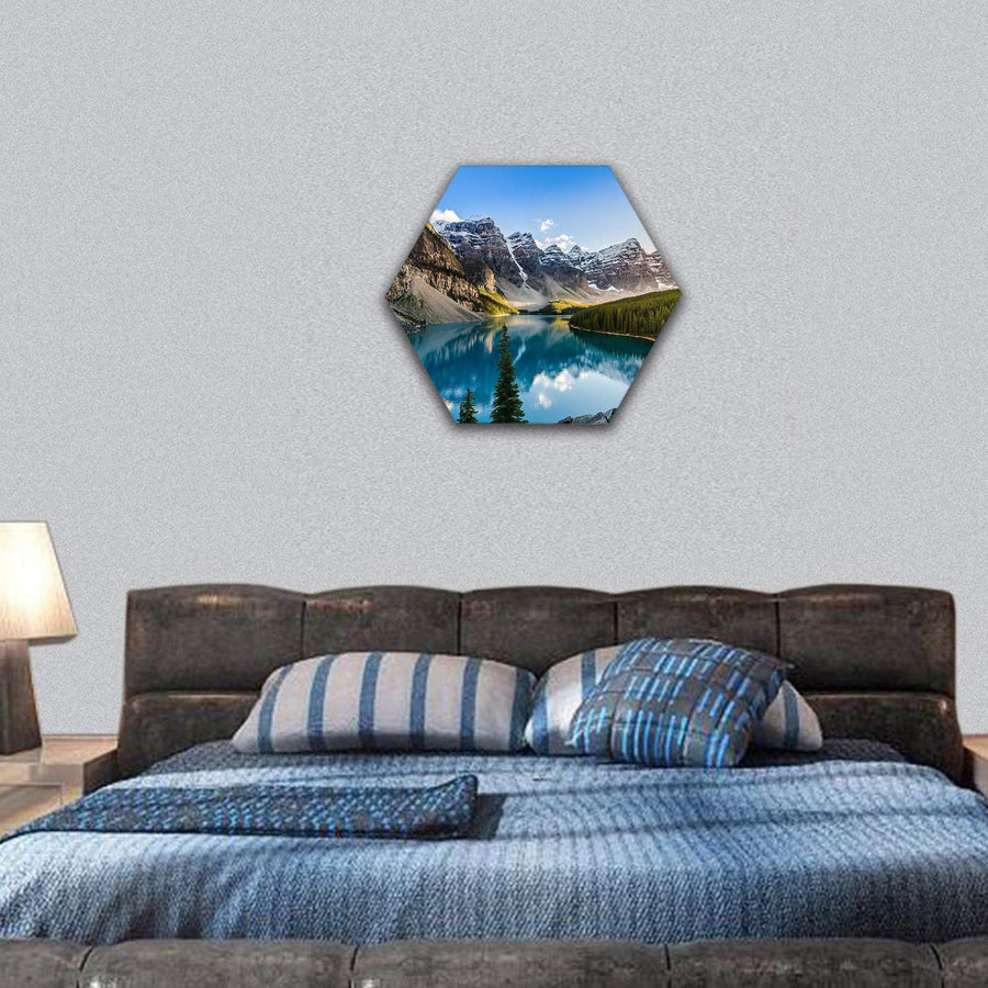 Moraine Lake And Mountain Range At Sunset Hexagonal Canvas Wall Art 7 Hexa / Small / Gallery Wrap Tiaracle