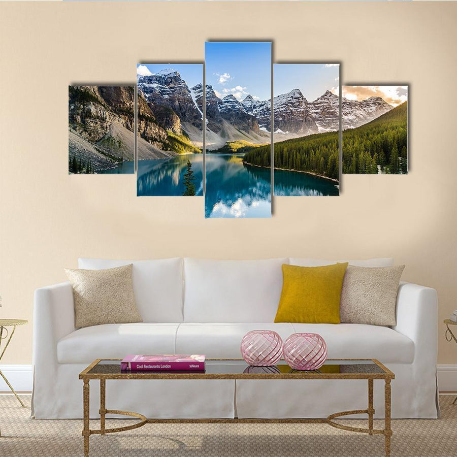 Moraine Lake And Mountain Range At Sunset Canvas Panel Painting Tiaracle