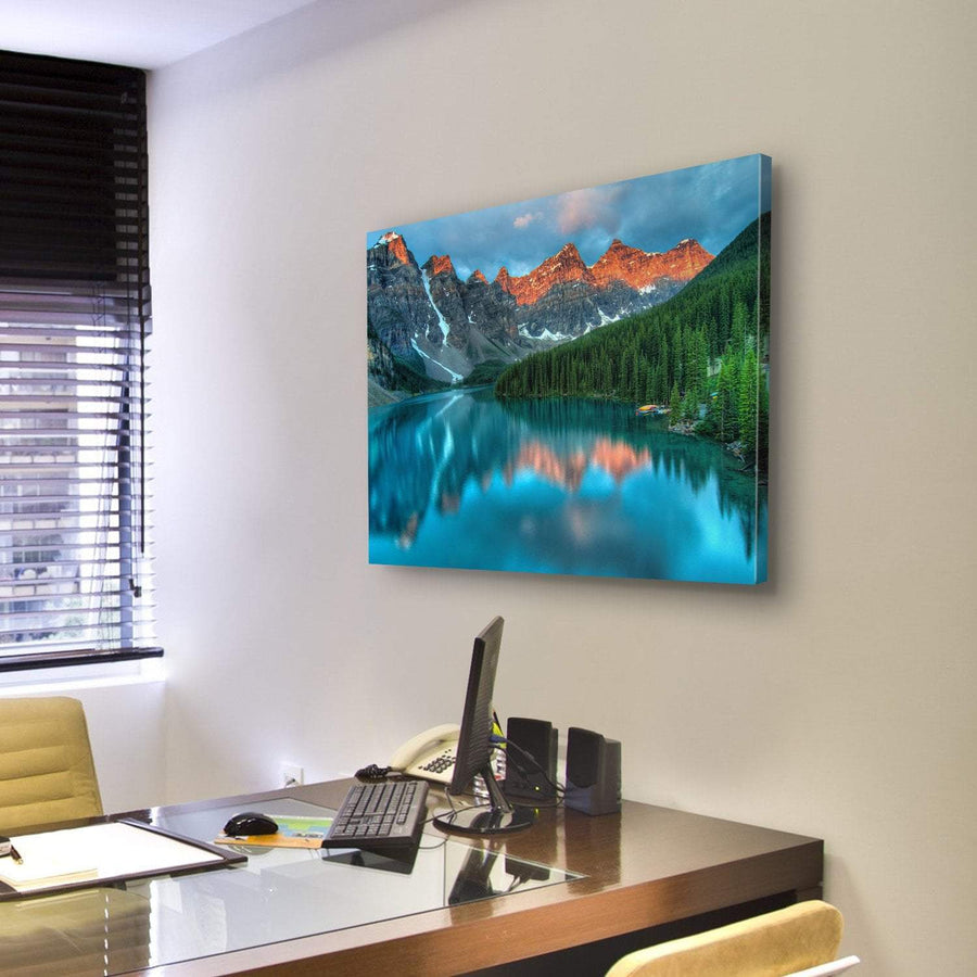 Moraine lake in Banff National Park 4 Piece Canvas Panel Painting Tiaracle