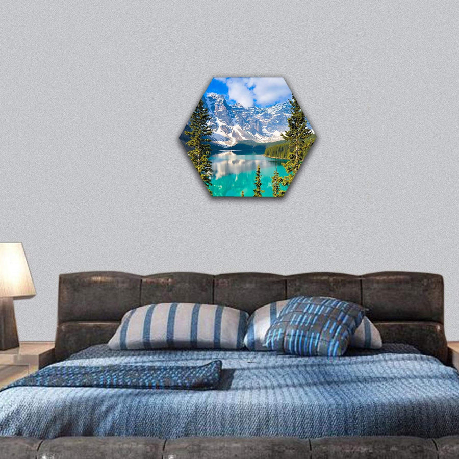 Moraine Lake In Rocky Mountains Of Canada Hexagonal Canvas Wall Art 7 Hexa / Small / Gallery Wrap Tiaracle