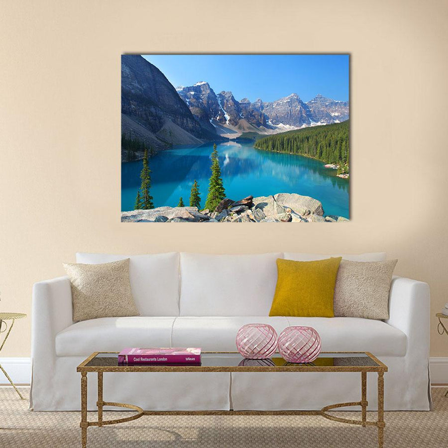 Moraine Lake In The Canadian Rockies Multi Panel Canvas Wall Art 3 Horizontal / Small / Gallery Wrap Tiaracle