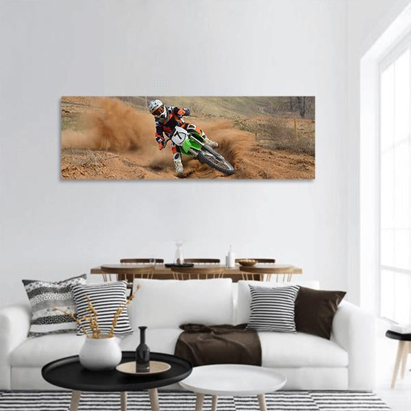 Motocross Rider In Race Panoramic Canvas Wall Art Tiaracle