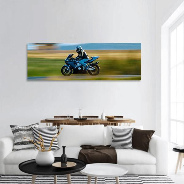 Motorbike In Speed Panoramic Canvas Wall Art 3 Piece / Small Tiaracle