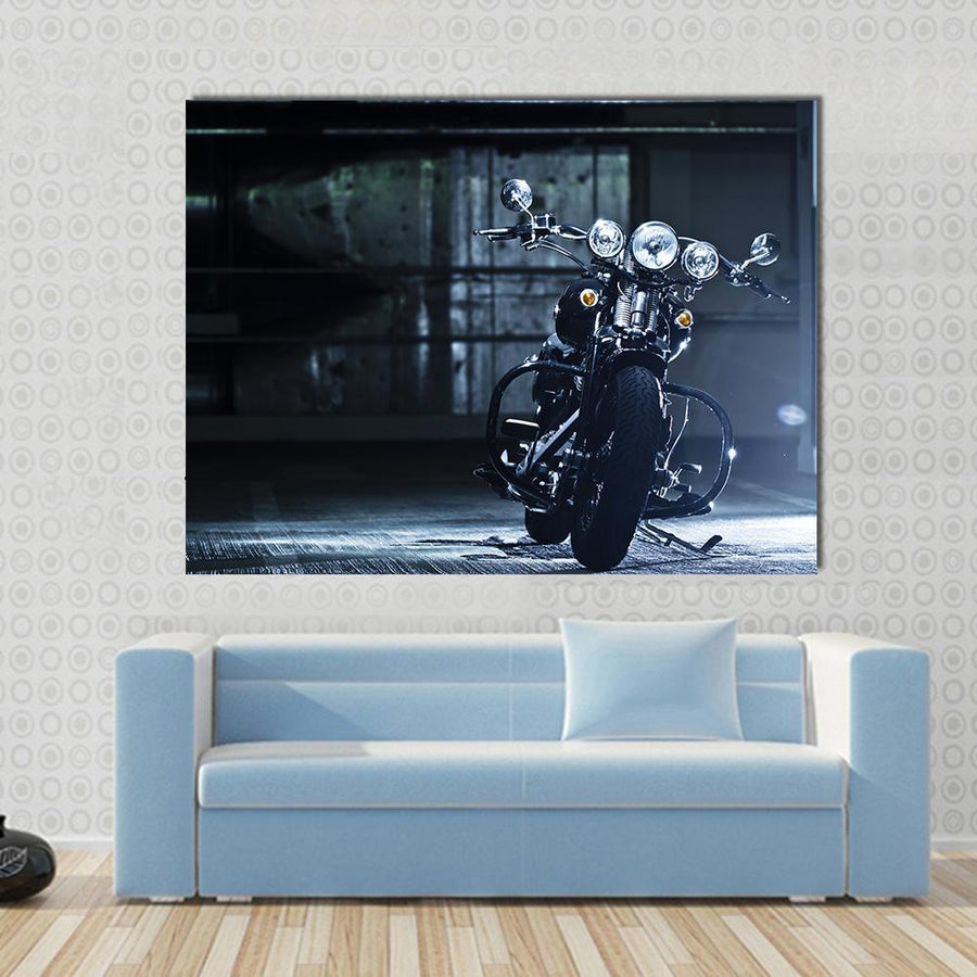 Motorbike In The Garage Canvas Panel Painting Tiaracle