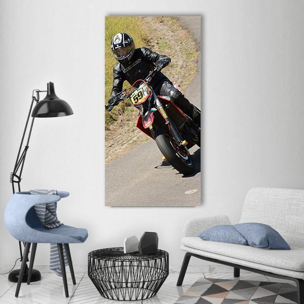 Motorbike Rider Vertical Canvas Wall Art 3 Vertical / Small / Gallery Wrap Tiaracle