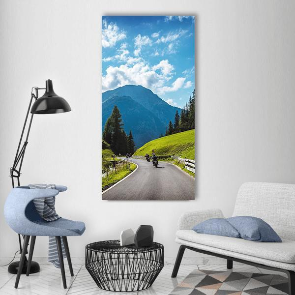 Motorbikers In The Mountains Vertical Canvas Wall Art 3 Vertical / Small / Gallery Wrap Tiaracle