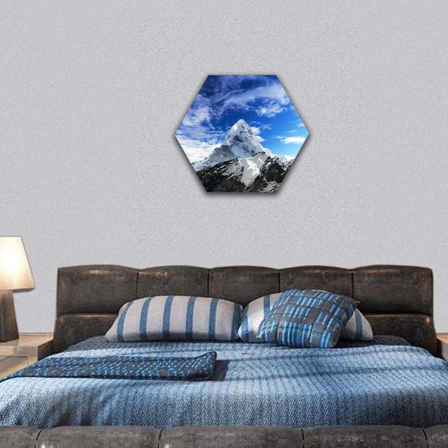 Mount Ama Dablam Within Clouds Hexagonal Canvas Wall Art 7 Hexa / Small / Gallery Wrap Tiaracle