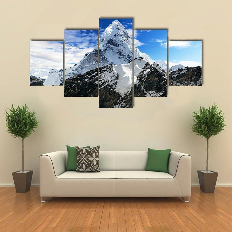 Mount Ama Dablam Within Clouds Multi Panel Canvas Wall Art 5 Pieces(A) / Medium / Canvas Tiaracle