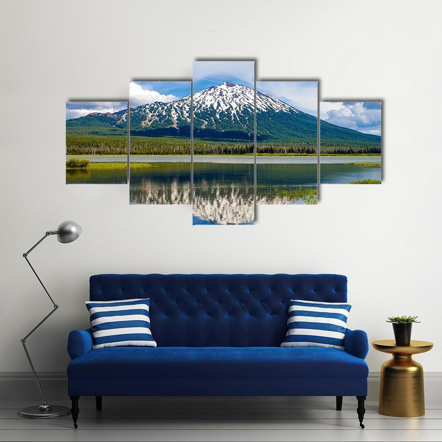 View Of Mount Bachelor In Oregon Multi Panel Canvas Wall Art 4 Pieces / Medium / Canvas Tiaracle