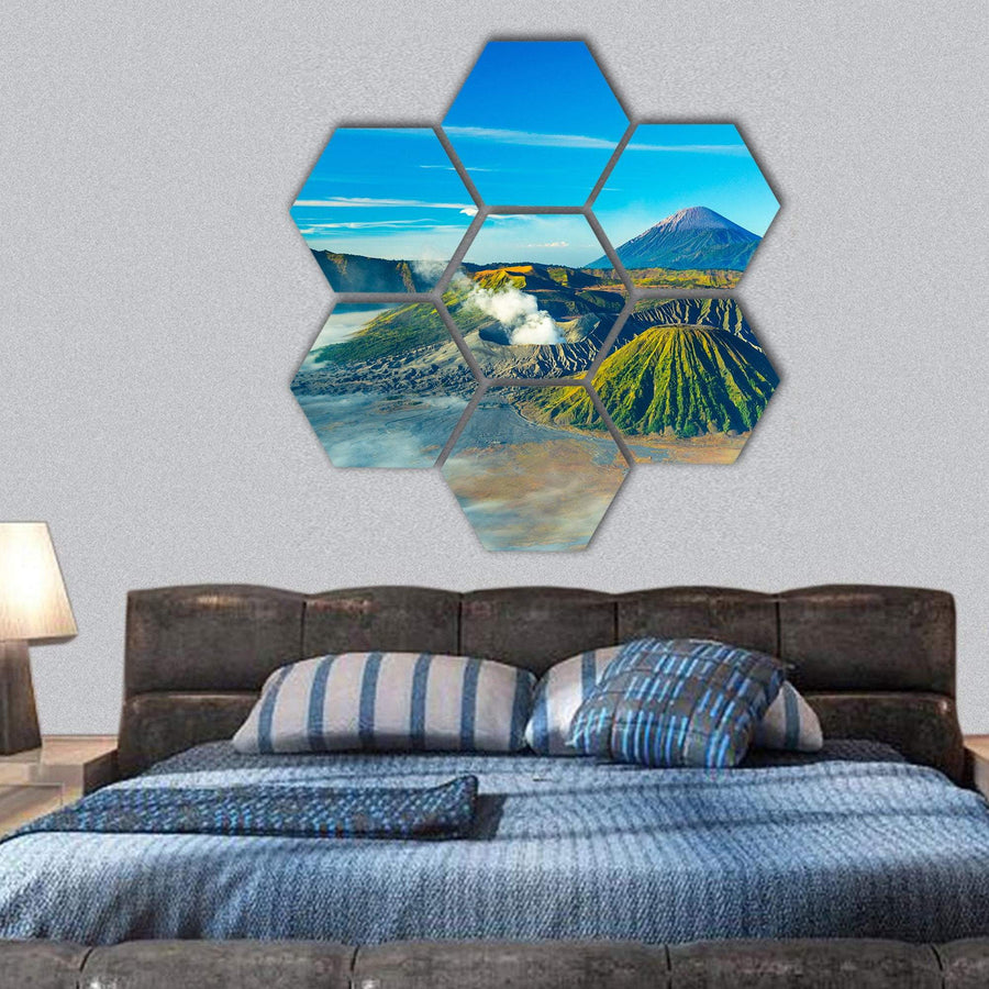 Mount Bromo With Mist During Sunrise Hexagonal Canvas Wall Art 1 Hexa / Small / Gallery Wrap Tiaracle