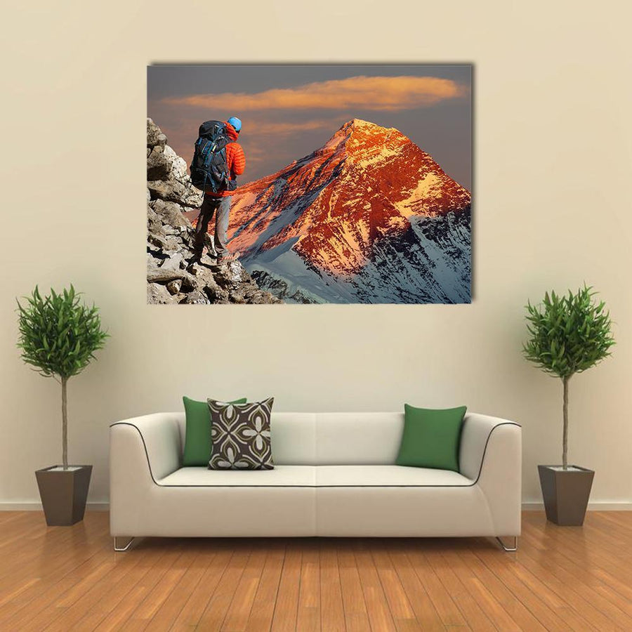 Evening Colored View Of Mount Everest Multi Panel Canvas Wall Art 4 Pieces / Medium / Canvas Tiaracle