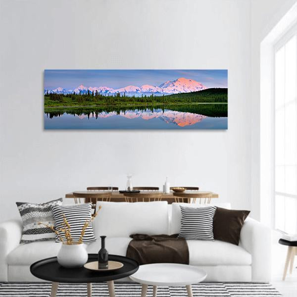 Mount McKinley In Alaska Panoramic Canvas Wall Art 3 Piece / Small Tiaracle