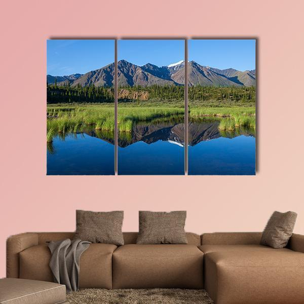 Mckinley Reflection In Lake On Alaska Multi Panel Canvas Wall Art 5 Pieces(B) / Medium / Canvas Tiaracle