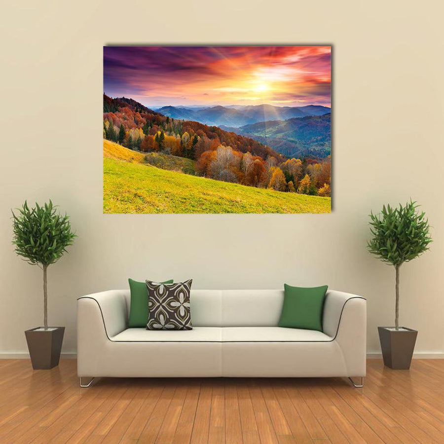 Mountain Autumn Landscape With Colorful Forest Multi Panel Canvas Wall Art 5 Pieces(A) / Medium / Canvas Tiaracle