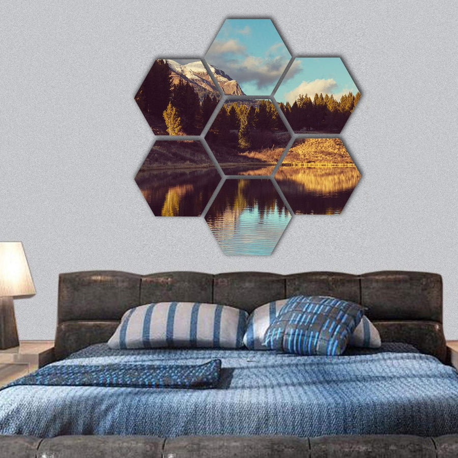 Mountain Landscape In Colorado Hexagonal Canvas Wall Art 1 Hexa / Small / Gallery Wrap Tiaracle