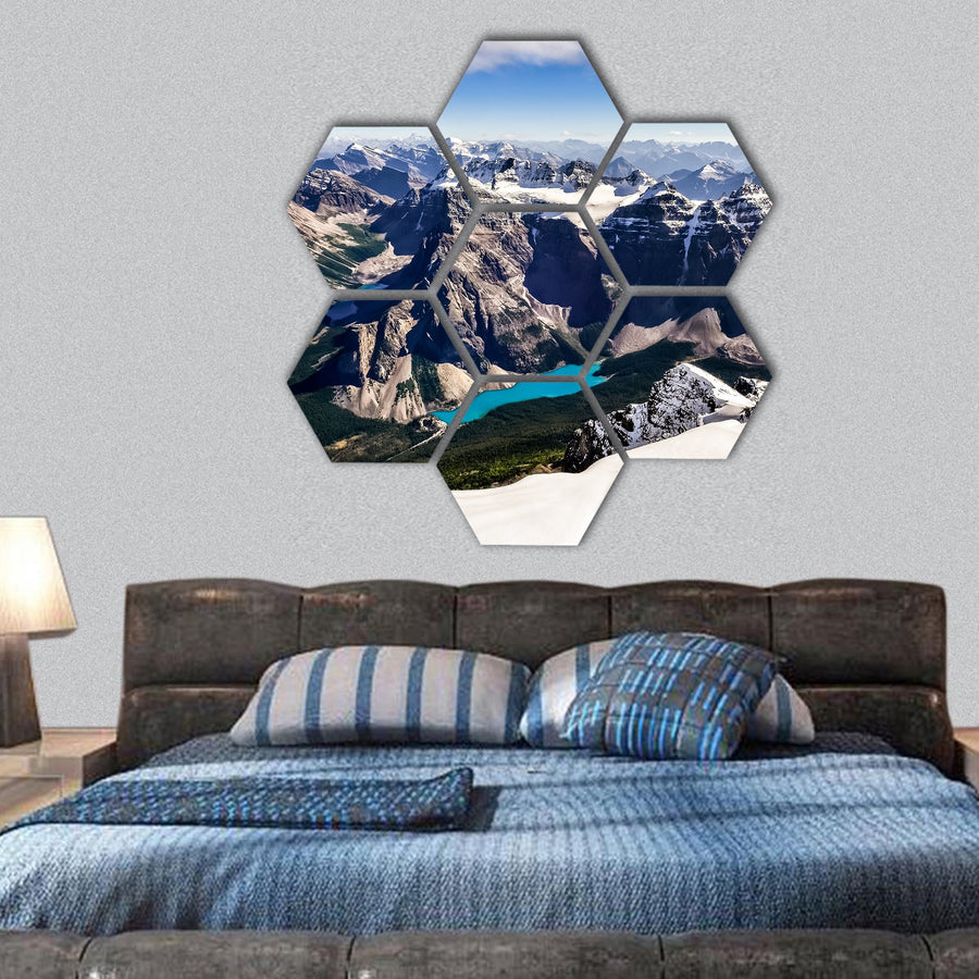 Mountain Range View With Moraine Lake Hexagonal Canvas Wall Art-1 Hexa-Small-Gallery Wrap-Tiaracle