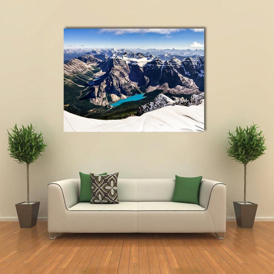 Mountain Range View With Moraine Lake Multi Panel Canvas Wall Art-4 Horizontal-Small-Gallery Wrap-Tiaracle