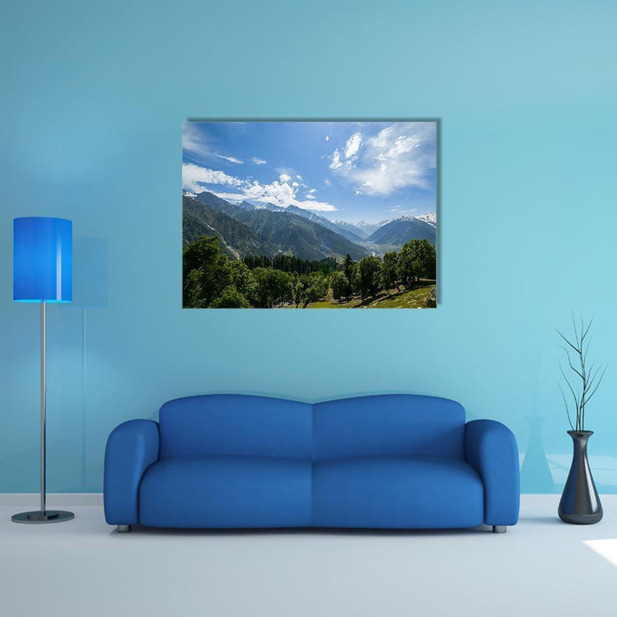 Mountain Range With Forest Multi Panel Canvas Wall Art 5 Pieces(A) / Medium / Canvas Tiaracle