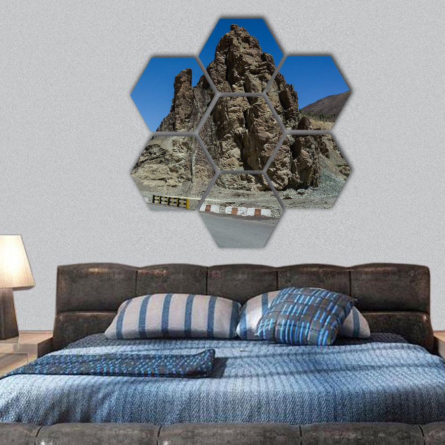 Mountain Road In Leh Hexagonal Canvas Wall Art-1 Hexa-Small-Gallery Wrap-Tiaracle