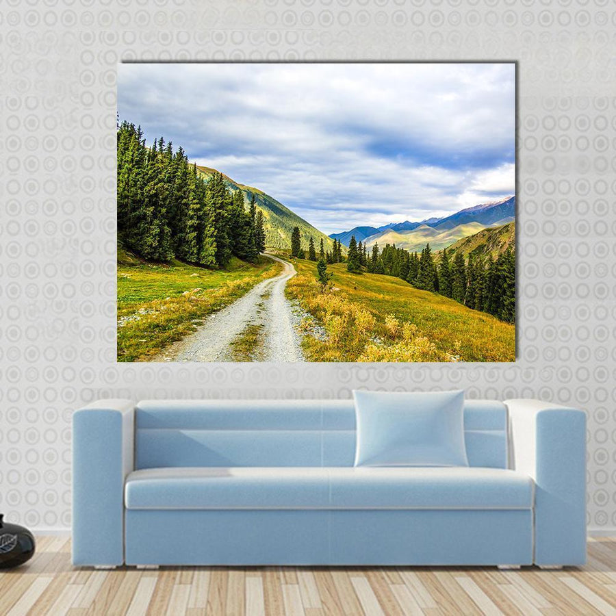 Mountain Road landscape With Clouds Canvas Panel Painting Tiaracle
