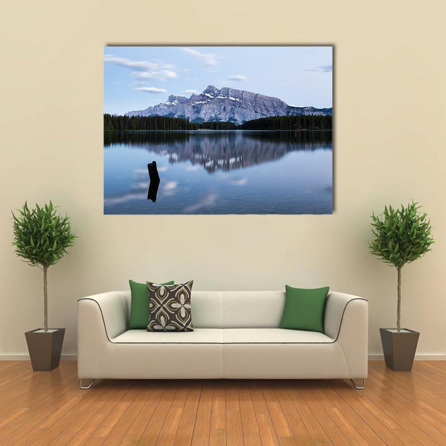 Mountains And Forests Reflected In Two Jack Lake Multi Panel Canvas Wall Art 4 Pieces / Medium / Canvas Tiaracle
