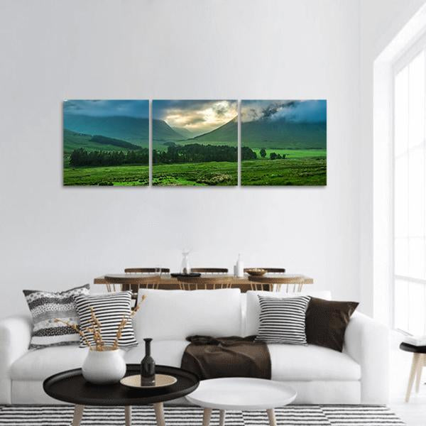 Mountains Of Glencoe In Scotland Panoramic Canvas Wall Art 1 Piece / Small Tiaracle