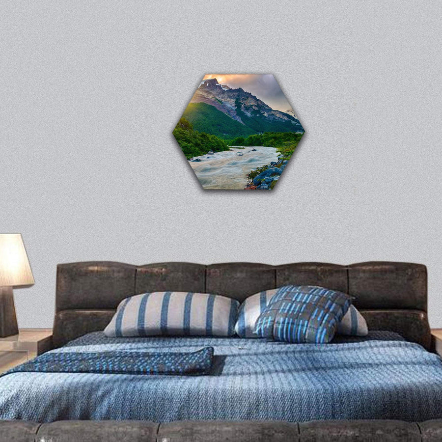 Mountains With Fitz Roy River At Los Glaciares Hexagonal Canvas Wall Art 7 Hexa / Small / Gallery Wrap Tiaracle
