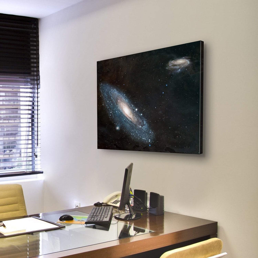 Moving Andromeda Towards Milky Way Galaxy Canvas Panel Painting Tiaracle