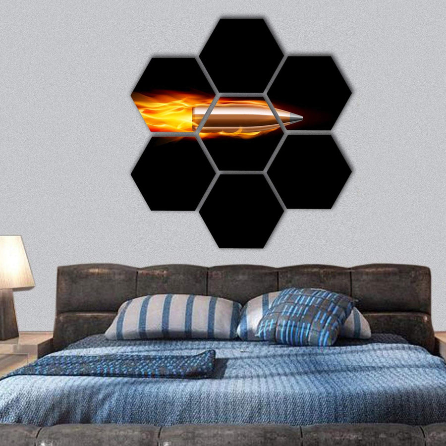 Moving Red Fiery Gun Bullet Shot Illustration On Black Hexagonal Canvas Wall Art 1 Hexa / Small / Gallery Wrap Tiaracle