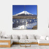 Mt Fuji And Swans In Lake Yamanaka Multi Panel Canvas Wall Art 4 Square / Small / Gallery Wrap Tiaracle