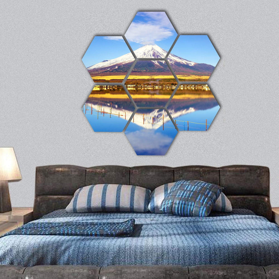 Mt Fuji With Lake Yamanaka Hexagonal Canvas Wall Art 1 Hexa / Small / Gallery Wrap Tiaracle