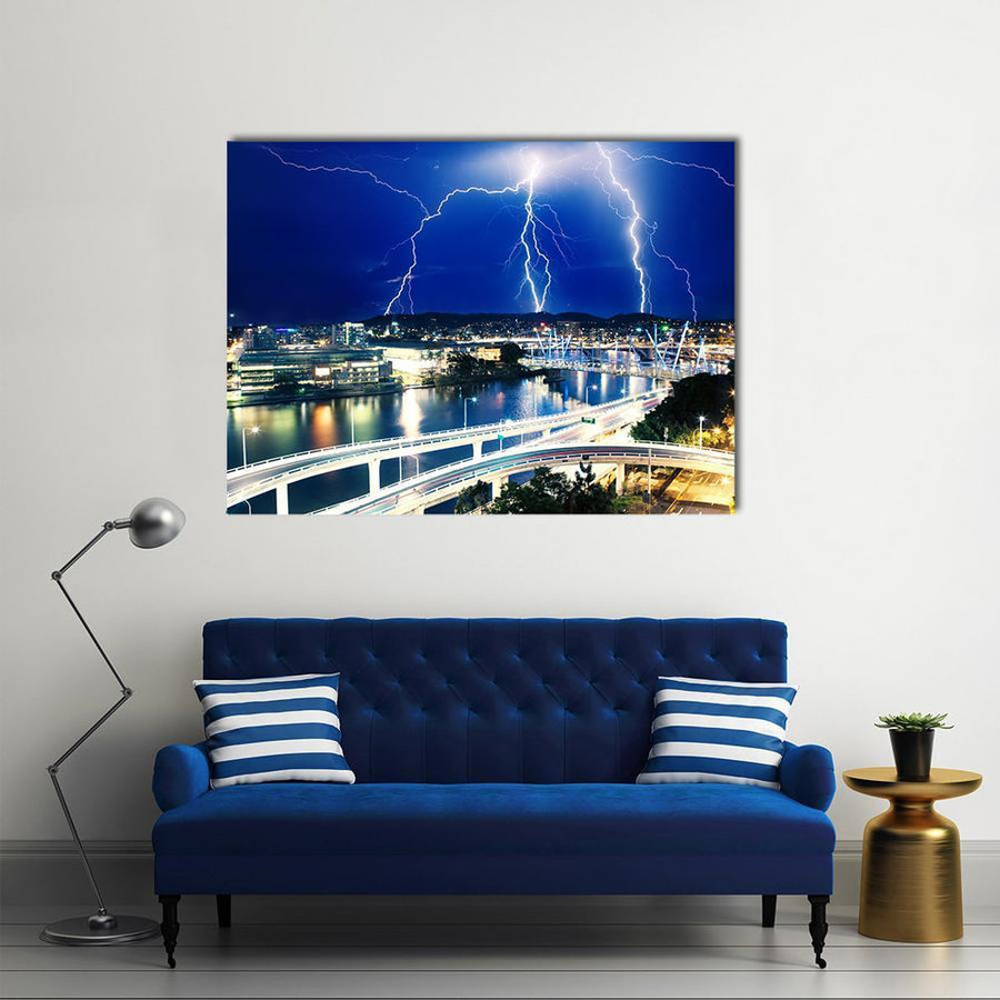 Multiple Eletric Lightning Strikes Over River In Brisbane, Queensland, Australia Multi Panel Canvas Wall Art-4 Horizontal-Small-Gallery Wrap-Tiaracle