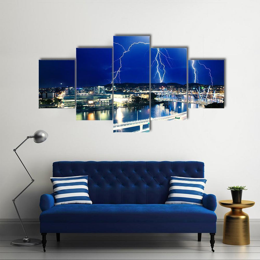 Multiple Eletric Lightning Strikes Over River In Brisbane, Queensland, Australia Canvas Panel Painting Tiaracle