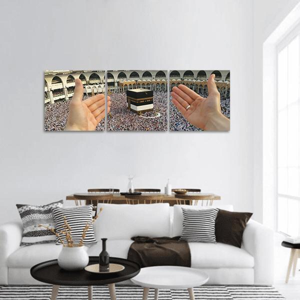 Muslim pilgrims around Holy Kaaba Panoramic Canvas Wall Art 1 Piece / Small Tiaracle