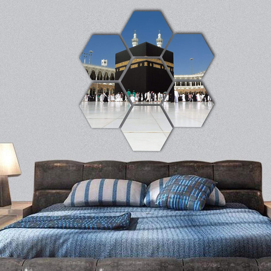 Muslim Pilgrims Praying In The Kaaba Hexagonal Canvas Wall Art 1 Hexa / Small / Gallery Wrap Tiaracle